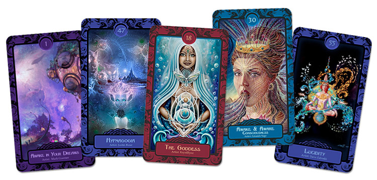 5 Cards from the Lucidity Mythos Oracle Deck